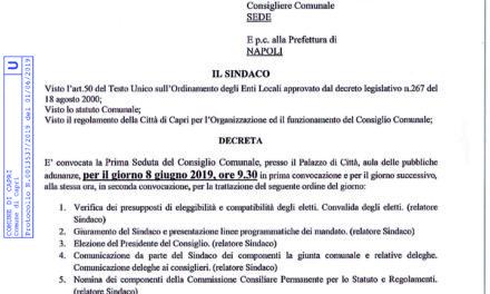 PRIMO CONSIGLIO COMUNALE DELLA NUOVA AMMINISTRAZIONE